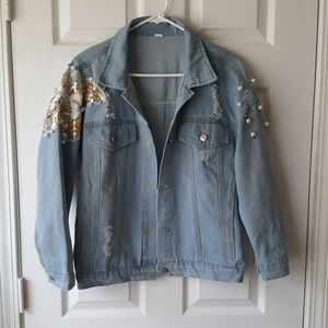 Sequins and pearl distressed light denim jacket